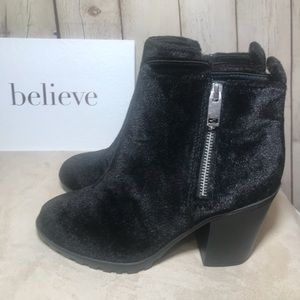 H&M Divided ankle boot zip velour 90s chunky heel
